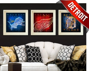 3-Piece Detroit Teams - Red Wings, Tigers and Lions City Maps - Perfect Christmas, Birthday or Anniversary Gift - UNFRAMED Prints