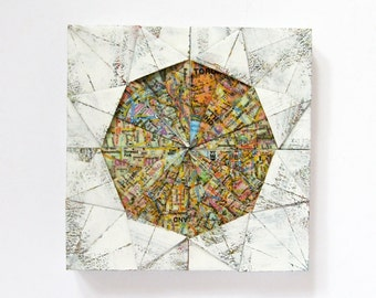 """Origami Panel No10a - White Map Paper Collage on Wood Panel - 6 x 6"""" Square Art Tile - Toronto Map Art - Wall Sculpture - World Travel Decor"""