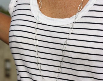 Silver Chain Necklace, Long Silver Chain Necklace, Long Chain Necklace, Silver Links Necklace, Sterling Silver Chain Necklace, Long Necklace