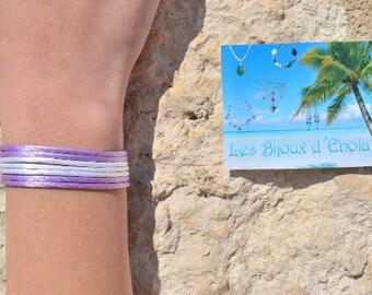 purple / purple and white bracelet