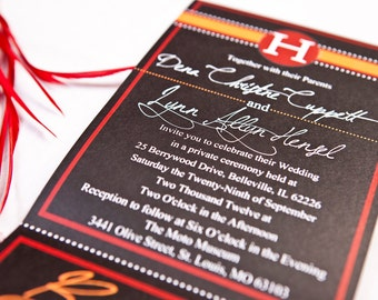 Script | All-N-One wedding Invitation | Tri-fold with attached RSVP | Deposit to get started