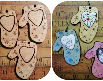 3 Christmas Mitten Ornament Embroidery Blanks - wood Frame ornies Craft Supply tree