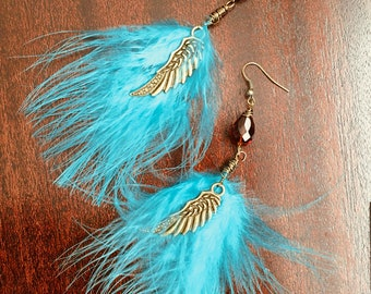 Flight of Fancy - Turquoise Feather Earrings - Bronze Wings - Bronze and Turquoise - Handmade Jewelry - Hand Wire Wrapped