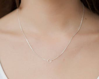 Small circle necklace in Silver - Tinycircle necklace in Silver