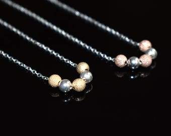 Stardust Glitter Bead Necklace/Sterling Silver/Rose Gold Bead Necklace