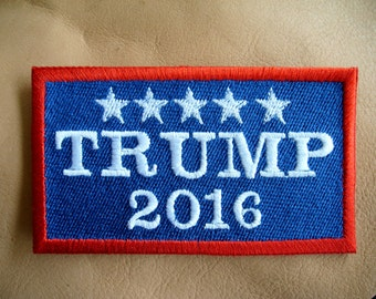 TRUMP 2016 Fully Embroidered Patch, Rectangle, full color, New for jacket, hat, vest
