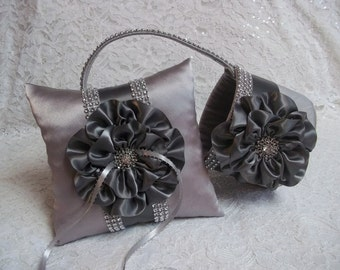 Platinum and Pewter Flower Girl Basket and matching Ring Bearer Pillow with Rhinestone Mesh handle and Trim
