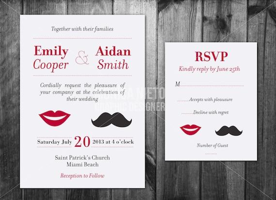 Customizable Wedding Invitation Templates: Printable Custom Moustache Wedding Invitation Template