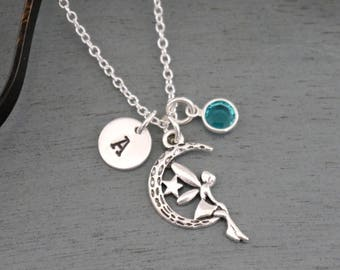 Fairy Necklace, Personalized Fairy Necklace, Silver Fairy Necklace, Initial Necklace, Cute Fairy Necklace, Fairy Tale Necklace, Fairy Gifts