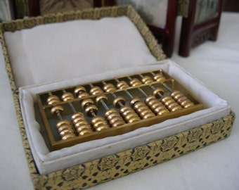 Vintage Brass Abacus Japanese Counting Soroban