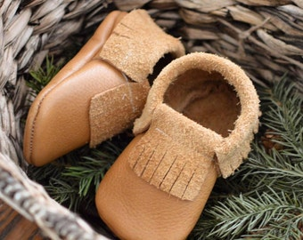 Tan Leather Moccasins // Moccasins // Moccs // Baby Moccasins // Baby Shoes // Baby Moccs