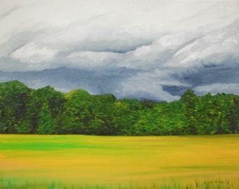 Spring Storm Clouds, Giclee Art Print, Landscape Painting, Cloud Art, Stormy Art