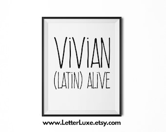 Vivian Name Meaning Art - Printable Baby Shower Gift - Nursery Printable Art - Digital Print - Nursery Decor - Typography Wall Decor