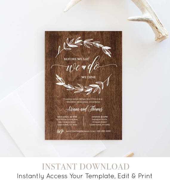 Wedding Rehearsal Dinner Invitation, INSTANT DOWNLOAD, Printable Rehearsal Dinner Invite, Rustic Wood, Fully Editable, Digital #023-103RD