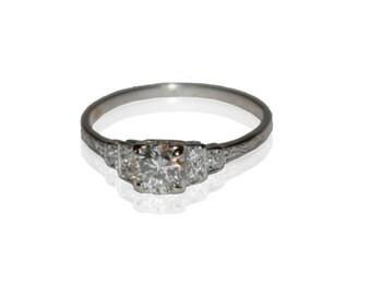 Antique Estate Art Deco Platinum and Diamond Engagement Ring, Round European Cut .65ctw Diamond