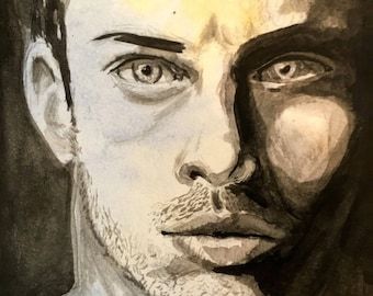 "Original Ink and Watercolor Art - Face Study: ""Stare"" - 4x6 inches hand drawn ink illustration OOAK"