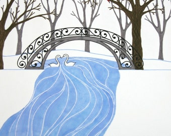 Snow Landscape Art Print, Illustration Winter White Blue Woodland Bird Swan Tree Rustic Retro Wall Art Wall Decor Christmas