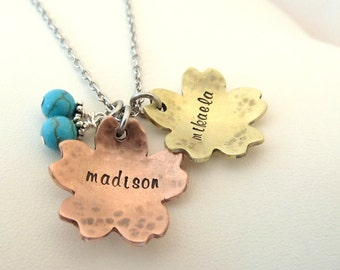 Hand Stamped Jewelry - Personalized Hand Stamped Rustic Flower Name Necklace