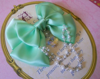 Sweet Lolita Hair clip or Brooch mint bow with glass heart and white pearl beads pearls