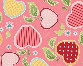 Patchwork fabric apples apple of my eye by Riley Blake pink