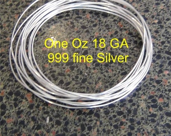 One + ounce ( .92 Troy oz)  .999 Fine silver wire 18 gauge Round dead soft 11 feet weight 28 + grams pure silver