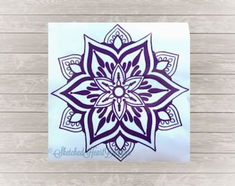 Mandala Style Flower Vinyl Decal, Hand drawn, Mandala Sticker, Bohemian, boho, Cup decal, Laptop decal, Car decal, Zentangle