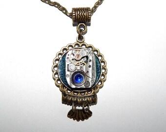 Steampunk Pendant, Necklace, Art Steampunk, Jewelry, Blue, Resin, vintage watch parts, Glitter Necklace, Mechanical Watch Movement#et 599