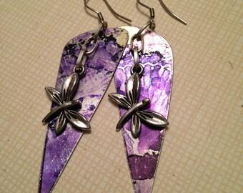Purple ink on lightweight aluminum charms 3 inch dangle earrings