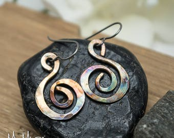 Spiral Earrings, Rustic Bronze Earrings, Bronze Earrings, Dangle and Drop Earrings, Boho Earrings, Tribal Earrings, Colorful Boho Earrings