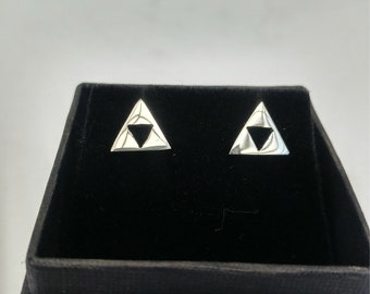 Sterling silver, handmade triforce studs.