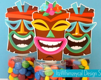 Tiki Party | Tropical Party | Luau Party | Luau Party Favors | Hawaiian Party | Hawaiian Party Favors | Candy Container | Party Favor Boxes