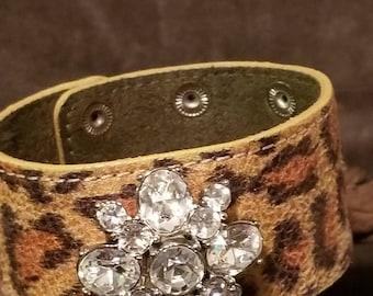 Leopard print rhinestone cuff bracelet