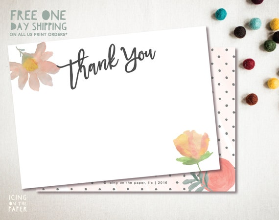 Watercolor Flowers Thank You Card - Printed