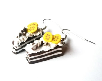 Chocolate Cake Earrings ( banana cake banana earrings food earrings polymer clay jewelry miniature cakes handmade earrings funky jewelry )