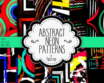 "Abstract digital paper : ""Abstract Neon Patterns 2"",colorful abstract patterns, neon and black, black digital paper, party digital paper"