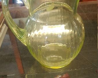 Vintage Uranium/Vaseline Glass Pitcher - Excellent Condition no chips