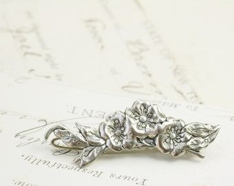 Flower barrette antique silver vintage style petite floral bridal hair clip wedding hair accessory victorian
