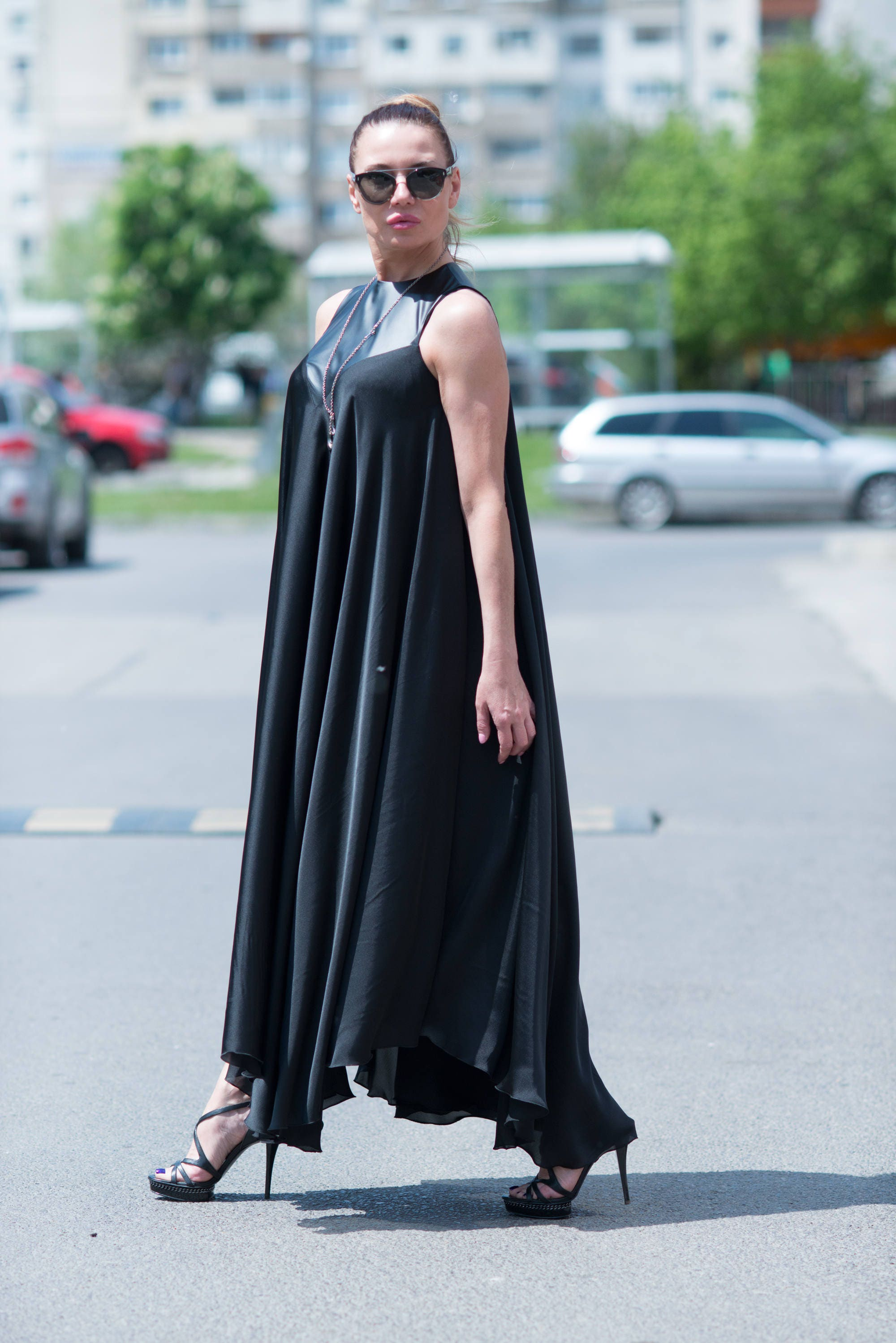 Black Maxi Dress, Satin Kaftan, Summer Dress, Party Dress, Kaftan ...