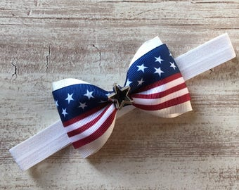 Patriotic American Flag Tux Bow Stretchy Elastic Headband