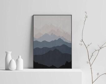 Abstract Mountains Art Instant Download Scandinavian Art Modern Art Gray Wall Art Mountain Print Printable Poster 18x24 16x20 11x14 A3 A4