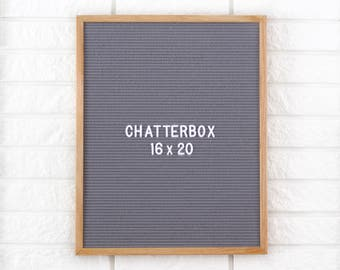 "In STOCK! 16x20"" Chatterbox Letter Board Oak Frame Letter Board with Grey Felt - Messanger Board - Felt Board with 290 Letter Set"
