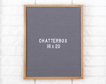 """16x20"""" Chatterbox Letter Board Oak Frame Letter Board - Messenger Board - Felt Board with 300+ Letter Set"""