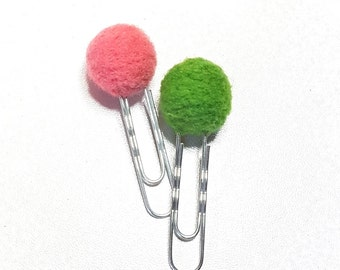 set of 2 paperclips balls carded wool - coral & Green