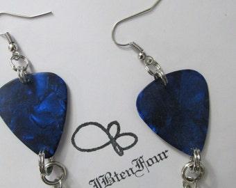 Blue Guitar Pick Dangle Earrings
