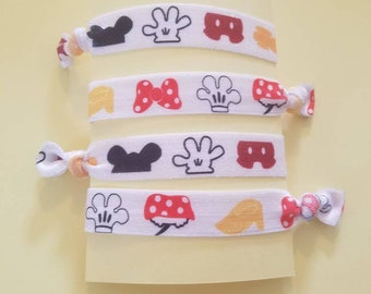 Set of 4 Mickey and Minnie inspired elastic hair ties