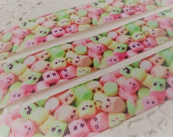 3 Yards of Kawaii Marshmellow Ribbon by the yard-For hairbows,headbands, hairties, gift wrapping, Dresses, Key Chains, scrapbooking & more!