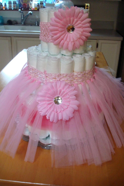 Girls Baby Shower Diaper Cake Kit Fancy Diaper Cake Pink