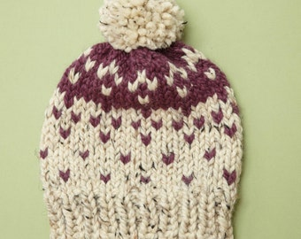 Fair Isle Hat Chunky Knit Hat Pom Pom in Oatmeal + Custom Accent Color // THE RILEY Free Shipping