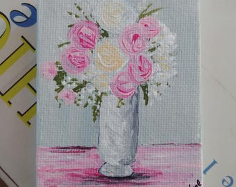 Shabby Chic Miniature Painting on Canvas with Mini Easel