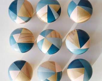 Bluebell. Hand painted colourful blue and pink door knobs